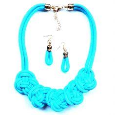Zsinór nyaklánc szett kék