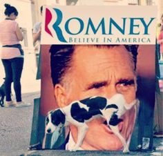 Dogs against Romney. You shouldn't have put Seamus on the roof during your road trip.