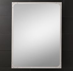 Industrial Rivet Flat Mirror from Restoration Hardware comes in  various sizes For use at Girl's bath and/or Master Bath