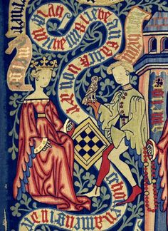 Wand tapestry of the love history of William of Orleans (Guillaume d'Orléan) and Amelia (Amélie), daughter of the English king. Made in the mid-Rhine region between Medieval Manuscript, Medieval Art, Illuminated Manuscript, Amelie, 15th Century Clothing, Old Best Friends, Medieval Furniture, History Activities, Plantagenet