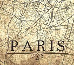 PARIS Canvas Print Paris France Vintage map by NatalyBorichArt