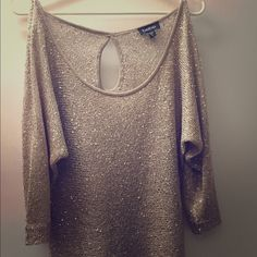 Bebe sequence sweater Gold sequence sweater worn a few times super cute! bebe Sweaters Crew & Scoop Necks