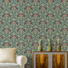 The Crown Archives Flora Nouveau Wallpaper in peacock green is a modern take on a classic vintage floral wallpaper with metallic highlights and free delivery Peacock Wallpaper, Art Deco Wallpaper, Damask Wallpaper, Paper Wallpaper, Green Wallpaper, William Morris, Vintage Floral Wallpapers, Bedroom Green, Guy Bedroom