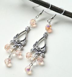 Pink Crystals And Silver Chandelier Earrings by BijiBijoux on Etsy, $24.00