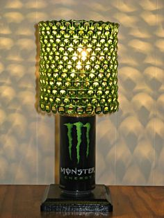 DIY Monster Energy Drink Lamp!! an the shade is tabs!!!!!!! i wud loooooove to have one of these!!!! <3