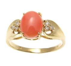 Brand new genuine natural pink coral (not treated, not enhanced) & diamond ring set in solid 14k yellow gold (not plated, not bonded) - Coral size: 7mm wide and 8.95mm long. - Diamond: 6pcs. total wei