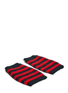 Men's Gloves - Accessories | Find more at LN-CC - Striped Knit Hand Warmer Gloves