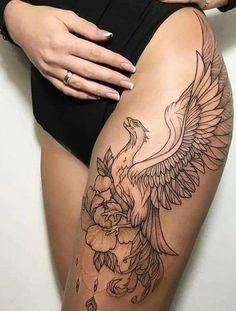 Phoenix Feather Tattoos, Phoenix Tattoo Feminine, Phoenix Tattoo Design, Phoenix Tattoo Sleeve, Watercolor Phoenix Tattoo, Phoenix Back Tattoo, Rising Phoenix Tattoo, Phoenix Drawing, Leg Tattoos Women