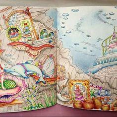 Fundo do mar perfeito by @sseungei ・・・#desenhoscolorir #로맨틱컨트리 두번째 #RomanticCountry #SecondTale #컬러링북 #ColoringBook #인어공주 #TheLittleMermaid #프리즈마유성 #livrodecolorir #oceanoperdido #apequenasereia