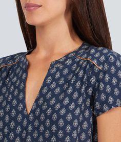 Robe blouse imprimée, lien taille - KARELLE - BLEU - Etam