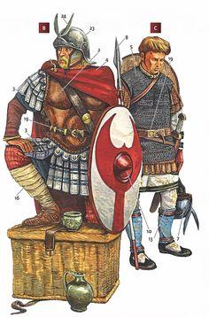 Centurión y legionario. El primero lleva una armadura musculada de cuero y el manto propio de su rango, el segundo una cota de mallas y va armado con lanza y espada.