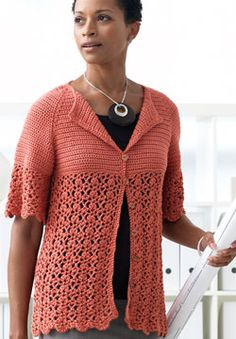 Peachy elbow-sleeve cardigan with empire waist, lace, and scalloped edging - free crochet pdf pattern - easy!  Patons Silk Bamboo (65g/2.2oz) Coral 10, 11, 12, 13, 15, 16 balls  Sizes G/6/4mm + H/8/5 mm crochet hooks, 11 buttons.  Sizes: XS/S, M, l, Xl, 2/3Xl, 4/5Xl