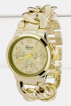 Chain Link Bracelet Fashion Watch (Gold Tone) $35.00
