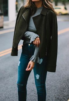 army green + grey + denim