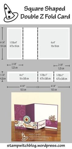 Diagram showing the dimensions to create a square shaped double Z folded card. Card design by Natalie Lapakko. Diagram showing the dimensions to create a square shaped double Z folded card. Card design by Natalie Lapakko. Card Making Templates, Card Making Tips, Card Making Tutorials, Card Making Techniques, Z Cards, Step Cards, Easel Cards, Tri Fold Cards, Fancy Fold Cards