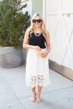 express black tank top, bauble bar necklace, valentino sunglasses, ann taylor lace skirt, vince camuto stud gladiator sandals, j mclaughlin bamboo clutch