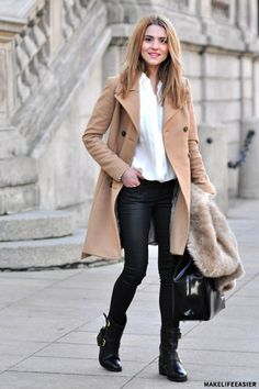 Biker Boots, shirt, and faux fur