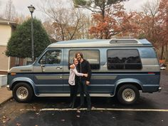 blue 1988 ford econoline van with friends in north carolina Chevy Conversion Van, Diy Van Conversions, Truck Camping, Van Camping, Camping Gear, Camping Jokes, Land Rover Defender, General Motors, Mercedes Camper Van