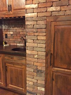 New England Blend Thin Brick Veneer makes is the perfect option for this wine cellar.