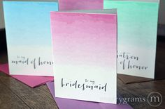 Ombre Colored To My Bridal Party Wedding Day Card // These gorgeous ombré note cards are made with high quality white shimmer cardstock and are perfect for delivering a special message to each of the girls in your wedding party. Available in pink, blue or green ombre, and your choice of shimmer envelope is included to add an extra accent of color!