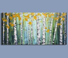 ORIGINAL painting abstract painting landscape painting birch tree canvas wall art by Sage Mountain Studio