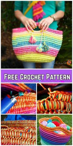 Crochet Ropey Rainbow Basket Free Crochet Pattern