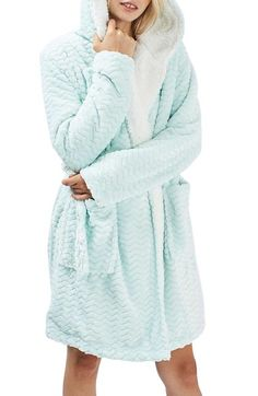 Topshop Teddy Hooded Chevron Robe available at #Nordstrom IN PINK OF COURsE