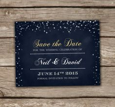 Midnight Blue Starry Night Save the Date - Printed, Chalkboard, Starry Light, Engagement Party, Bridal, Baby, Couples Shower, Wedding - SHOP: chitrap.etsy.com