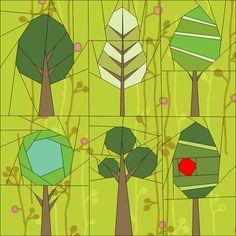 Trees 1 Jan 2014 BOM Paper Piecing quiltartdesigns.blogspot.com