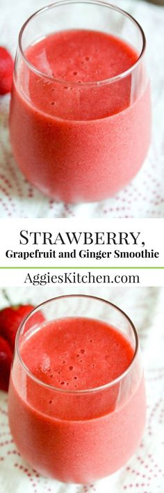 This Strawberry, Grapefruit and Ginger Smoothie will give you a refreshing energy boost any time of day.