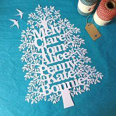 Large Unframed Family Tree Papercut