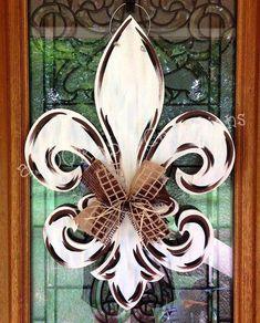 FANCY Fleur De Lis unfinished wood craft shape, do-it-yourself – Mardi Gras Wooden Craft Shapes, Wooden Crafts, Wooden Diy, Wooden Door Hangers, Wooden Doors, Mardi Gras, Fancy, Diy Fleur, Door Hanger Template
