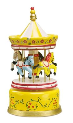 """Classic musical clock in a roundabout design, the carnival atmosphere comes into the children's room. 4 coloured horses are dancing to the melody of """"Talk To The Animals""""Dimensions: Height approx. The Animals, Carousel Musical, Musical Toys, Wooden Music Box, Christening Gifts, Toy Boxes, Girl Nursery, Wooden Toys, Bunt"""