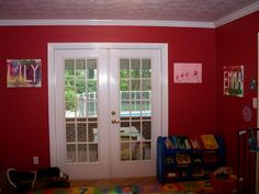 """Great fingerpainting idea with the kids for their """"future"""" playroom!"""