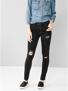 1969 destructed resolution true skinny high-rise jeans | Gap