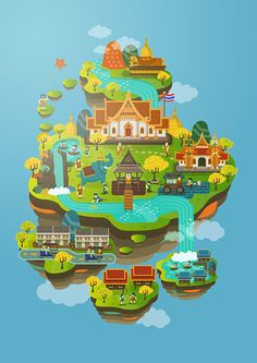 This illustration is about Thailand& culture and many of famous things enjoy! City Illustration, Landscape Illustration, Graphic Design Illustration, Digital Illustration, Graphic Art, Isometric Art, Isometric Design, 3d Mode, 8bit Art