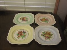 Vintage Johnson Brothers Square Braided Plate Fruit Motif Muti Color Set of4 EUC