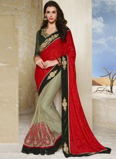 Fabulose Hot Red With Light Green Designer Wedding Saree http://www.angelnx.com/