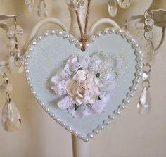 Shabby chic decorated wooden heart. door hanger