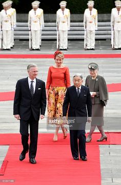 King Philippe, Queen Mathilde of Belgium, Emperor Akihito and Empress Michiko attend the welcome ceremony at the Imperial Palace on October 10, 2016 in Tokyo, Japan. Belgium king and queen are in the state visit to Japan until October 14.