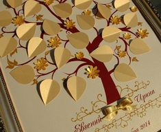 3d guest book tree with flowers-Wedding Guest Book Alternative-Gold for up to 30, 50, 100, 150, 200 guests