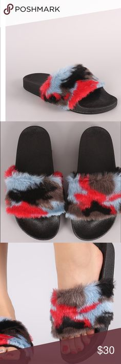 fuzzy slides Furry (faux fur) Camouflage slides. Full sizes only. No trades  no offers restock  Boutique brand  Shoes Sandals