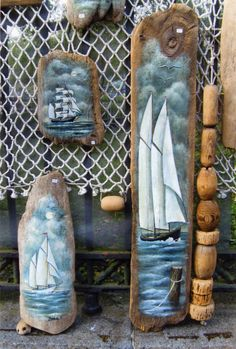 #Nola art, driftwood paintings from Jackson Square artist, Joan Bonner.