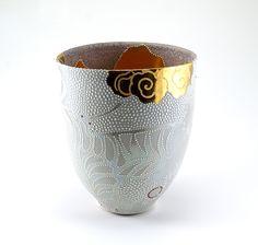 """Johanna Demaine (Australia) - """"Fractured Flight""""; porcelain, gold, lustre, sand etched, raised enamel, 19cm high x 16cm wide x 14cm wide"""