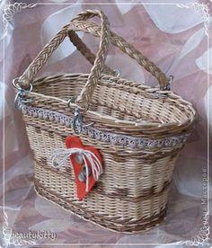 Поделка изделие Плетение Наконец-то у меня сумка Кружево Пуговицы Ткань Трубочки бумажные фото 1