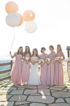 Pink bridesmaids gowns with white bouquets. Captured By: Alyssa Marie Photography ---> http://www.weddingchicks.com/2014/05/09/lucky-penny-wedding-tradition-you-will-love/