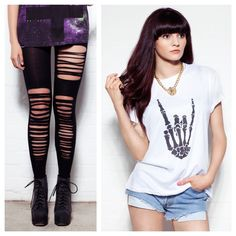 Todays Fashion Fix: Style our slashed leggings with our skull tee! <3  Leggings - http://www.loveclothing.com/slashed-leggings-black-p-7338_4_5.html Tee - http://www.loveclothing.com/retro-skeleton-hand-white-p-7264_4_14.html
