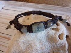 $39 - Labradorite Woven Wristband on Brown - Inspirational handmade gemstone jewellery Earth Jewel Creations Australia