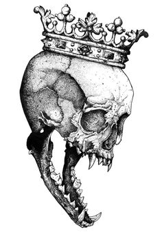 Ancients Kings : The Wolf Art Print by Sinpiggyhead - X-Small Creepy Drawings, Dark Art Drawings, Tattoo Drawings, Drawing Sketches, Cool Drawings, Dark Art Tattoo, Gothic Tattoo, King Tattoos, Skull Tattoos