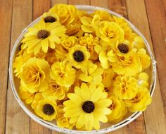 Wooden Flowers- 100 pcs - Yellow - for Weddings, Home Decorations, Scrapbooking and Floral Arrangements by AccentandPetals on Etsy